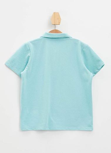 DeFacto Yakası Çizgili Polo T-shirt Turkuaz